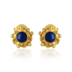 Handmade Designer Lapis Gemstone Stud Earrings Yellow Gold on 925 Silver