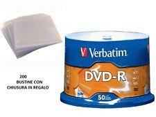 200 DVD -R VERBATIM vergini 16X MATT SILVER Advanced Azo dvdr + 200 bustine