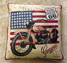 Tapestry Motorbike USA Flag Cushion Cover Pillow Case 43cm Ideal Gift UK MADE