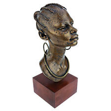 African Queen Bust Sculpture Elegant Ruler Statue on Wood Museum Mount