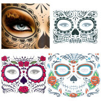 Day of The Dead Skull Face Dress Up Temporary Tattoo Stickers Facial Makeup