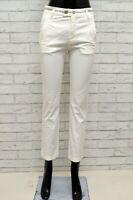 Pantalone BIKKEMBERGS Donna Taglia 40 Jeans Pants Woman Cotone Bianco Slim Fit