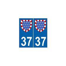 37 Indre et Loire autocollant plaque blason armoiries stickers département droit