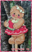 HP Wooden Yard Stake Gingerbread, Lawn Decoration, Yard Art , Sign, Summer,  Red