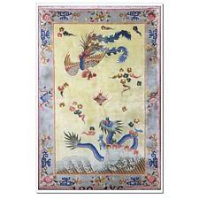 Yilong 4'x6' Handmade Silk Carpet Dragon and Phoenix Design Hand Craft Area Rug