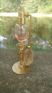 DeVilbiss Perfume Atomizer Glass Figural Gold Lady Woman Base Circa 1920's