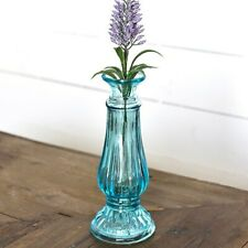"Blue Cottage Glass 8"" Vase"