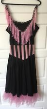 Purple Black Burlesque Dress Costume Moulin Rouge Can Can Saloon Diva Size 10-12