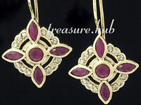 CE199- Genuine 9K Solid Yellow Gold NATURAL Ruby & Diamond Earrings