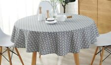 Cotton Linen Tablecloth Grey Arrow Round Table Cover 48-in