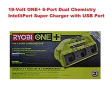 RYOBI P135 18-Volt ONE+ 6-Port Dual Chemistry IntelliPort Super Charger,USB Port