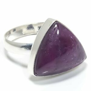 Kashmir Red Ruby Gemstone Handmade 925 Solid Sterling Silver Jewelry Ring Size 8