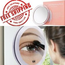 15X Magnifying Mirror (6 inches Round) - with 3 Mounting Suction Cups Rose Gold