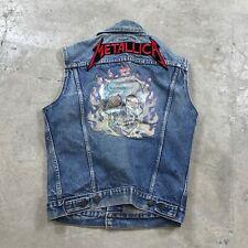 Vintage 80s Metallica Tour Concert Levi's Denim Trucker Vest Sz 40L Made in USA