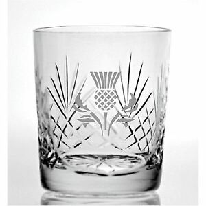 Cut Crystal 11oz Whisky Glass With Scottish Thistle Design