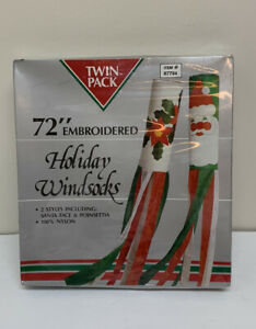 "Vintage 2 Pack 72"" Embroidered Nylon Christmas Windsocks Santa & Poinsettia NEW"