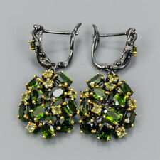 Unique Natural Chrome Diopside 925 Sterling Silver Earrings /E32774