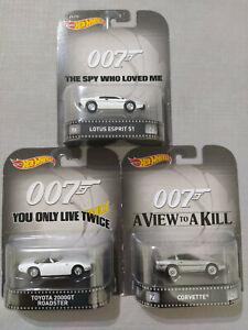 Lote Hot Wheels James Bond 007 Retro Entertainment Real Riders Bundle Colección