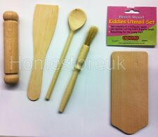 5 PIECE KIDS COOKING KITCHEN TOOL BAKING KIT SET BEECH WOOD UTENSIL KIDDIES 5020