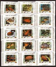 Umm el kiwain 15 little blocks stamp non dntelés fish sea, 196t5