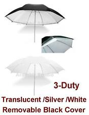 "43"" 110cm Black Revesible White Silver Umbrella f Alien Bees Balcar Strobe Light"