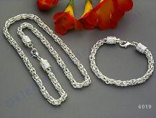 Königskette Kette Armband Set Silber plattiert king chain set silver plated 6019