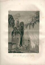 1827 GROTTA DI POSILLIPO NAPOLI Crypta Neapolitana Le Riche Acquatinta originale