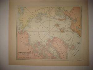 ANTIQUE 1892 NORTH POLAR POLE REGION ARCTIC OCEAN MAP ALASKA ASIA GREENLAND RARE