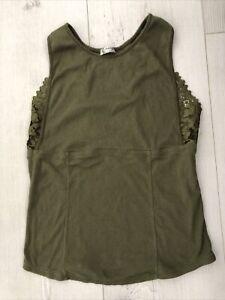FREE PEOPLE Khaki Lace Vest Camisole Tank Top Size L