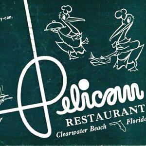 1950s Pelican Restaurant Clearwater Beach FL Postcard MCM Anthropomorphic VTG