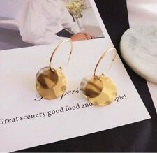 Long Drop Earings with Gold Double Layer Round Plate Handmade Jewellery