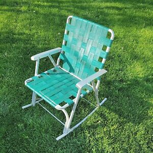Vintage Outdoor Folding Webbed Green Rocker Rocking Lawn Chair Circa 1950