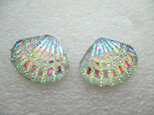 AB SCALLOP SHELL RESIN  STUD EARRINGS 18MM