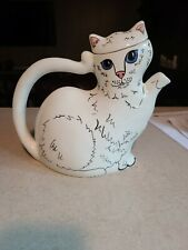 Vintage Nina Lyman white cat teapot - Cats by Nina persian cat tea pot - Tea.