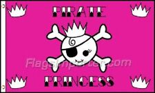3x5 Jolly Roger Pirate Pink Princess Flag 3' x 5' house banner grommets (Fi)
