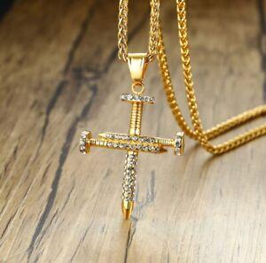 "Men Titanium Stainless Steel 49 mm Gold Cubic Zircon Nail Cross Necklace 23.5"""