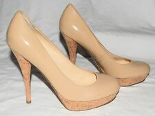 GUESS KARISE Beige Faux Patent Leather Platform Pumps Shoes w/ Cork Heel Sz 9.5M