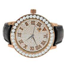 Men's Roman Face 1 Row Chanel Set Bezel Joe Rodeo Rose Gold Real Diamonds Watch