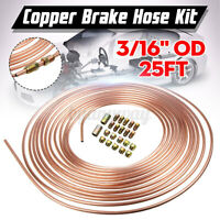 """Steel Copper Brake Line Tubing Kit 3/16"""" of 25Ft Coil Roll with 20 Fittings"""