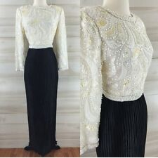 Vintage 80s George F. Couture Saks hand beaded glass Fortuny pleated dress S M