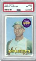 Reggie Jackson 1969 Topps RC Rookie Card Graded PSA 6 EX-MT Oakland A's #260