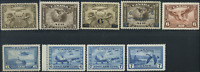 Canada #C1-C9 mint F to VF OG NH/LH/HR 1928-1946 Airmail Complete Set CV$165.50