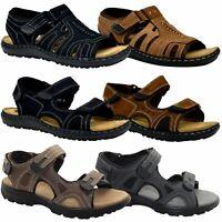 Mens Summer Leather Sports Sandals Hiking Trekking Trail Sandals Walking Shoe