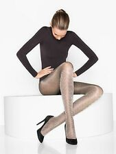 $55 New WOLFORD KRISTIN Tights HERRINGBONE WHITE / BLACK 40 Den XS RARE!