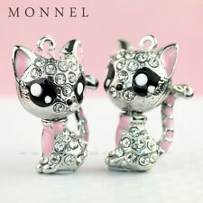 H434 Best Selling Crystal Pink Style Cat Kitten Pendant Charm Wholesale (3 pcs)