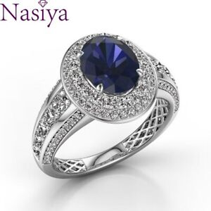 Sapphire Gemstone Ring 925 Silver Wind Jewelry Charm Women Wedding Party Gifts