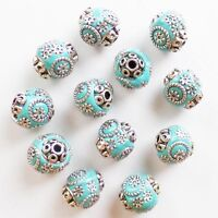 10pcs Sky Blue Rare Earth & Tibet silver Spacer Looose Beads GSAM1371