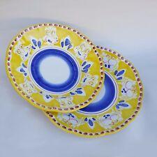 Coppia di Piatti in Ceramica Vietri 2 pezzi 100% decorato a mano Giallo