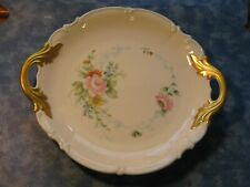 """RARE HUTSCHEN REUTHER 12"""" HANDLED CAKE PLATE SYLVIA Made in Germany XLNT"""