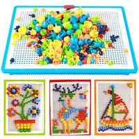 296pcs Picture puzzle flashboard toy kids intellectual mushroom nail kit_HK